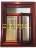 Ventana que aterroriza de aluminio para la casa, ventana de madera de aluminio colgada superior de la buena calidad de las compañías de fabricación de la ventana
