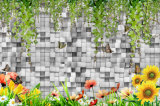 美しい景色の油絵が付いている3D石塀パターン