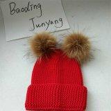 Chapéus do inverno do tampão da pele do Pompon o Beanie real o mais atrasado das crianças feitas malha