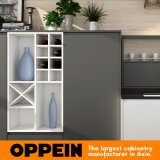 Oppein branco moderno laca fosco cinza armário de cozinha de madeira (PO16-L18)