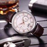 スチール・ケースの革バンドマンの方法偶然の腕時計