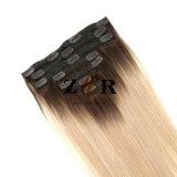 Grampo de cabelo brasileiro desenhado natural da cor de tom dois na extensão do cabelo humano