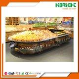 Деревянные стеллажи для выставки товаров фрукт и овощ Hypermarket супермаркета