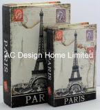 Contenitore di libro di legno classico di memoria di disegno Canvas/MDF della Torre Eiffel S/2