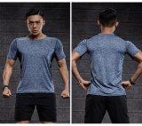 Tshirt seco do ajuste do esporte da ginástica das camisas de esporte da luva dos homens de Bodyshape
