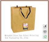 Handles를 가진 호화스러운 Custom Printing Printed Kraft Paper Shopping Packaging Carrier Wine Packing Bags