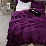 Cobertor roxo liso macio super do velo da flanela do Bedsheet do luxuoso do poliéster