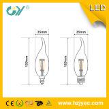 Luz da vela do diodo emissor de luz do filamento 3W da eficiência elevada (CE RoHS)