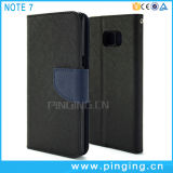 Tampa Flip Caso Telefone de couro para a Samsung Galaxy Nota 7