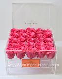Fábrica de hecho personalizado Rosa de acrílico transparente Caja con tapa