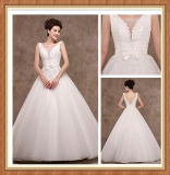 V vestido de casamento F1158 de Ballgown do comprimento do assoalho da faixa da garganta