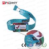 Wristband descartável de MIFARE NFC com material da tela + PVC