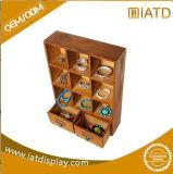 Хлопните вверх шкаф тарелки стойки индикации деревянной одежды плиток хранения стеклянный для наушника/носок/микстуры/еды/игрушек/куклы