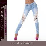 As mulheres sexy sarja de algodão bordar Jeans (TSN00363)