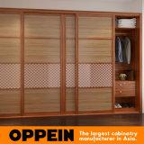 Grano de madera correderas Armario dormitorio con cintura reticulado de vidrio (YG16-M11)