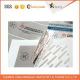 Collant de Anti-Contrefaçon fait sur commande d'hologramme de garantie de papier d'imprimerie d'étiquette d'Anti-Article truqué