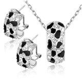 Nuevo conjunto cristalino de la joyería del oro blanco del esmalte del efecto del leopardo del diseño