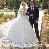 Платье венчания 2017 G1877 полных втулок мантий шарика шнурка Bridal роскошных длинних мусульманское