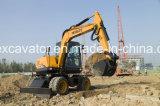 Mini Excavadora de ruedas con martillo hidráulico Buen Precio HT75W