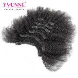 Clip rizado del Afro brasileño en la extensión del pelo humano