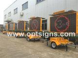Exibição de Publicidade de sinal de tráfego âmbar LED Reboque trailer de anúncio móvel