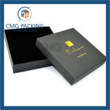 Caja de cartón negra de la joyería de la cartulina con el interior de la esponja (CMG-PJB-019)