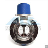Aço inoxidável sanitárias a Válvula Borboleta com alça ajustável