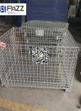 Metal del almacenaje del almacén plegable empilando jaulas del acoplamiento de alambre con las ruedas