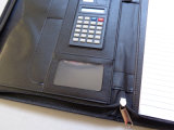 Caja de cuero del folio del planificador del papel A4 con el encierro de la cremallera