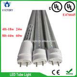 lámpara blanca de la luz del tubo de la UL LED T8 del cUL 6000k del día de los contactos de los 4FT 24W G13 2