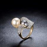 De gele Ring van de Juwelen van de Parel van de Parel van de Legering van het Kristal van het Gouden Plateren