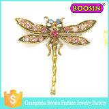 Brooch di cristallo della libellula del metallo dell'oro di spilla di sicurezza degli uomini su ordinazione all'ingrosso