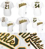 Мужчины Женщины дети Oakland Athletics 21 Стивен Фогт 54 Сонни серого цвета Cool база бейсбольного футболках NIKEID