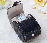 Caja de reloj de cuero suave con soporte de tarjeta