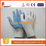 Ddsafety 2017 13 перчаток Bleach датчика Nylon безшовных с голубым PVC ставит точки одна сторона