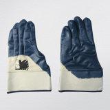 Синий Джерси Semi-Coated гильзы Ce нитриловые перчатки работу вещевого ящика (5017)
