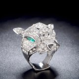 銅の宝石類動物ヘッド整形銀製カラーCZ指リング