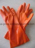 Personnalisés Gants industriels PVC de couleur orange