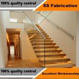 Modernos de gama alta escalera interior con el pasador de vidrio laminado fijo