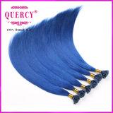 도매 이탈리아 접착제 100% 파랑 색깔 브라질 인간적인 각질 머리 U 끝 연장
