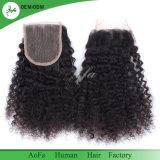 Chiusura superiore riccia crespa non trattata naturale dei capelli umani di 100%