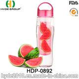 бутылка воды с ручкой, подгонянная пластичная бутылка Infuser плодоовощ 750ml плоская Tritan воды (HDP-0892)