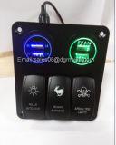 Pista 3 Alquiler de Panel de interruptores de balancín de LED con 2 USB Cigaretter Plug para marinos/barco/RV resistente al agua 12V