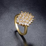 La Chine a personnalisé la bague de fiançailles de mode de cristal plaqué d'or jaune
