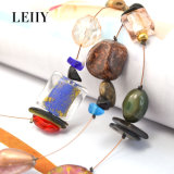 Leiiy natürliches Steinshell-Harz-mehrschichtiges dünnes Kettenfrauen-Halsketten-Set