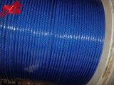 Голубая новая покрынная PVC гальванизированная веревочка стального провода 6X19 + FC/Iws/Iwrc
