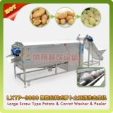 Grande machine végétale à vis automatique industrielle de lavage et d'écaillement de radis de melon de raccord en caoutchouc
