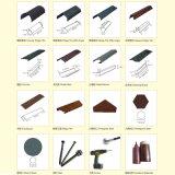 Les matériaux de construction du grain du bois de couleur métal recouvert de tuiles de pierre