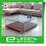 Tabella di tè di vetro curva con l'impiallacciatura di legno della noce