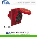 Casquilho de montagem de painel Industrial 16A 3P+E 380-415V IP44 414 424, 20 Amps inclinados tomada industriais